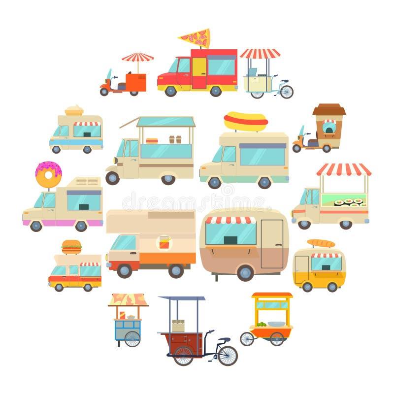 街道食物车象设置了,动画片样式 向量例证