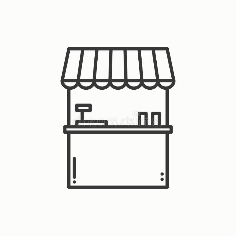 街道食物零售稀薄的线被设置的象 食物报亭,市场摊位,流动咖啡馆,商店,商业推车 线性传染媒介的样式 库存例证