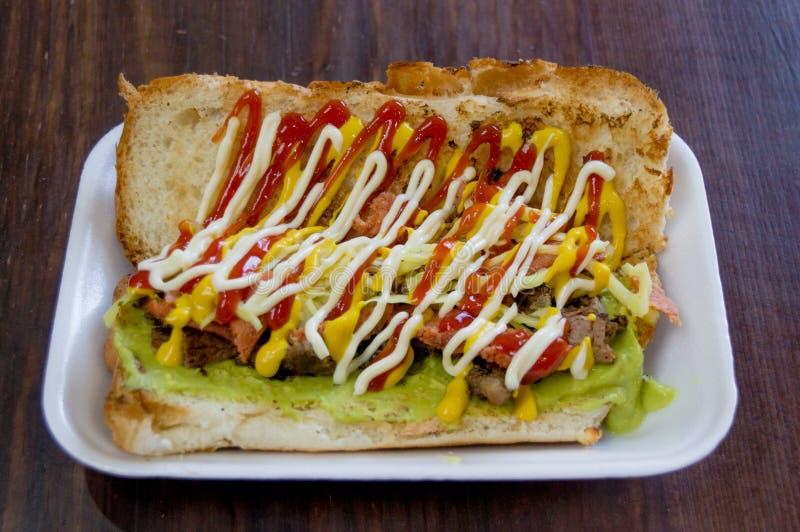 街道食物从危地马拉的三明治shucos 库存图片