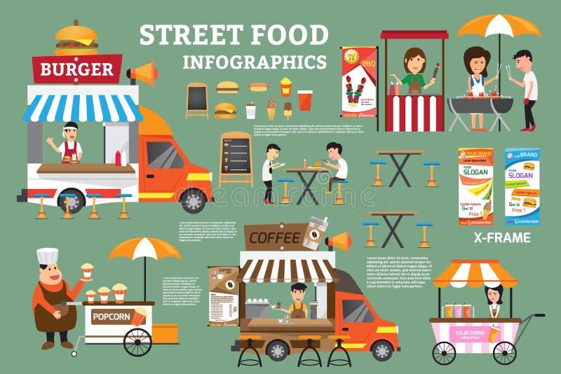 街道食物infographics元素 食物推车细节  库存例证