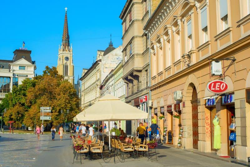 街道餐馆诺维萨德塞尔维亚 免版税库存照片