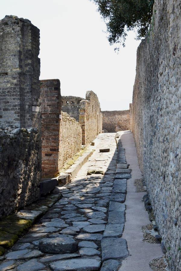 街道,庞贝城考古学站点, nr维苏威火山,意大利 库存照片
