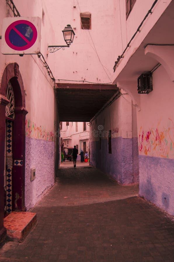 街道,摩洛哥,蓝色,麦地那,卡萨布兰卡 免版税库存照片