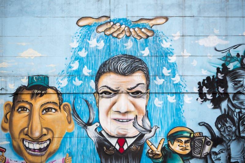 街道画和街道艺术在波哥大 图库摄影