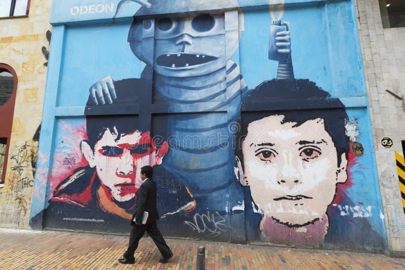 街道画和街道艺术在波哥大 库存照片