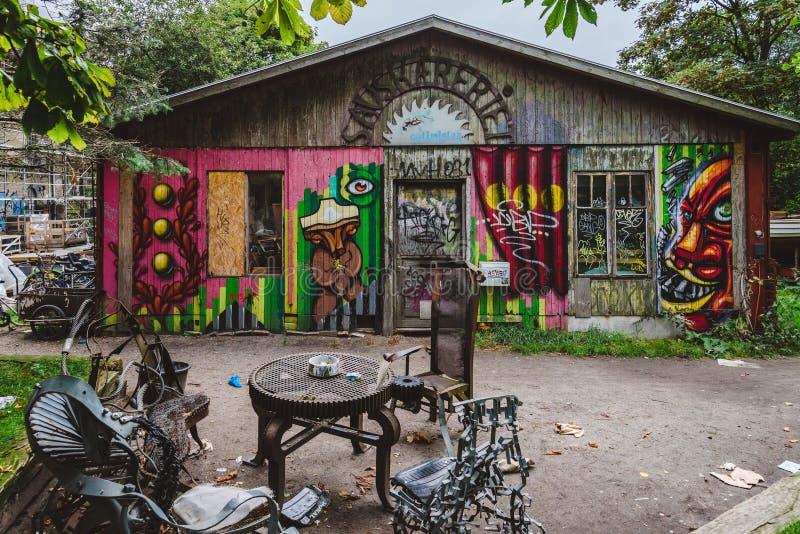 街道画在Christiania区在哥本哈根 图库摄影
