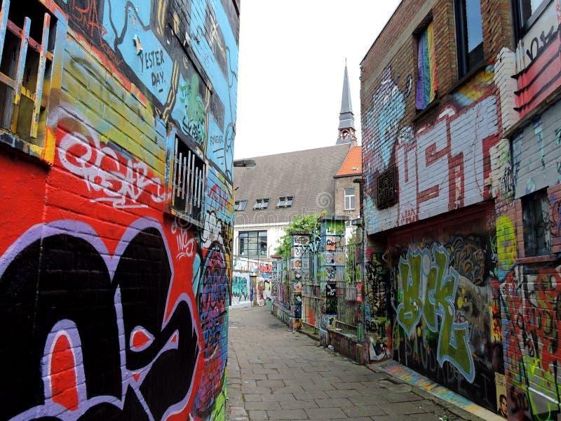 街道画巷道在跟特,比利时 免版税图库摄影