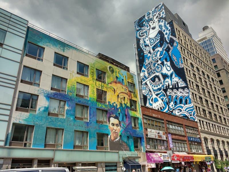 街道画样式艺术,拉斐特街,纽约, NY,美国 免版税图库摄影