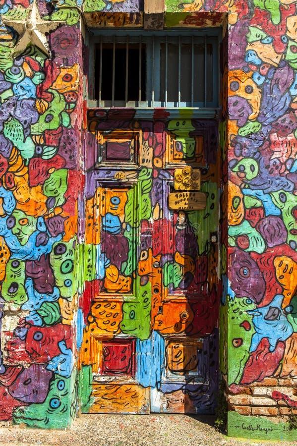 街道画艺术在瓦尔帕莱索,智利 免版税库存照片