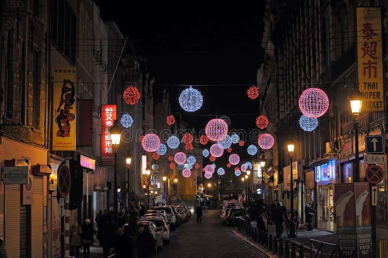 街道Sainte凯瑟琳在布鲁塞尔 库存照片