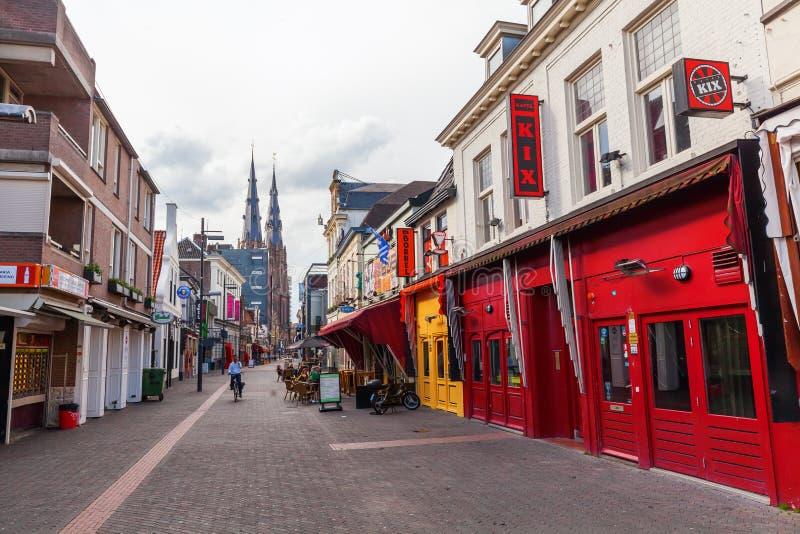 街道Stratumseind在艾恩德霍芬,荷兰 库存照片