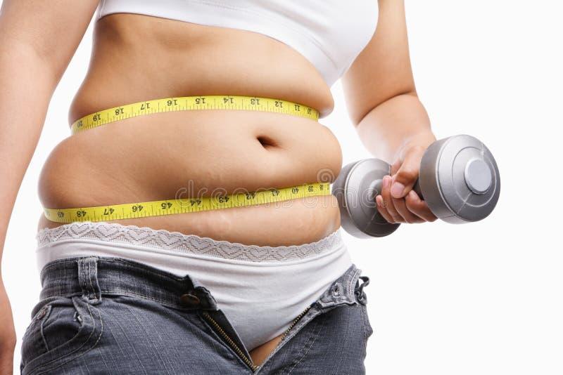 衡量妇女的执行肥胖藏品 免版税库存图片