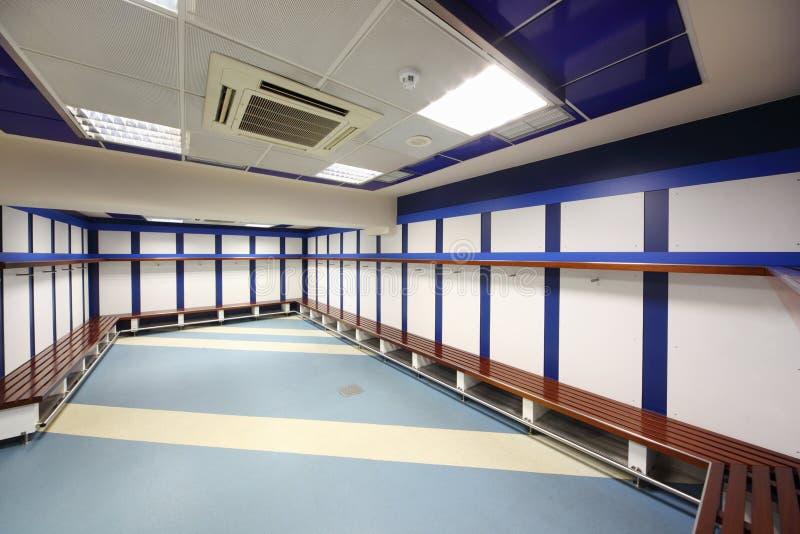 更衣室在圣地亚哥Bernabeu体育场内 库存照片