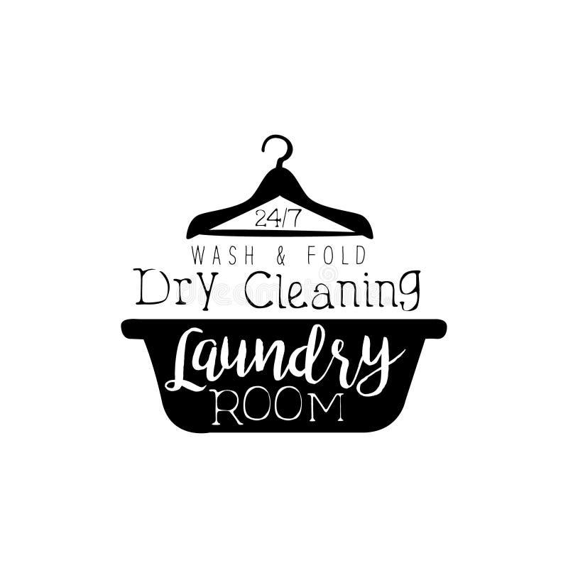 洗衣店和干洗服务的黑白标志与水池和挂衣架剪影 库存例证