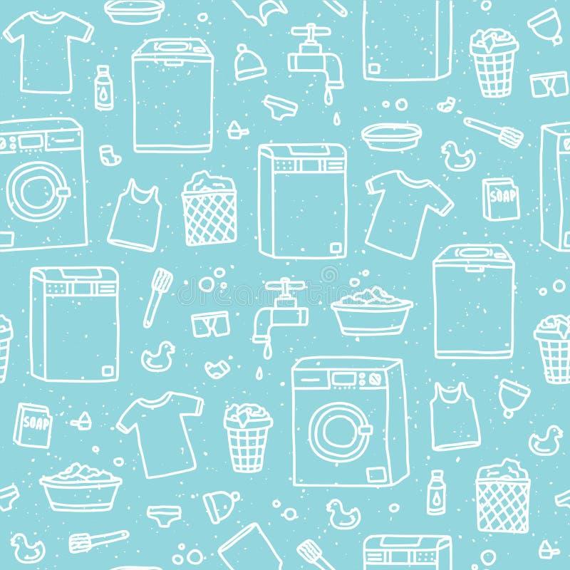 洗衣服务无缝的传染媒介样式 库存例证