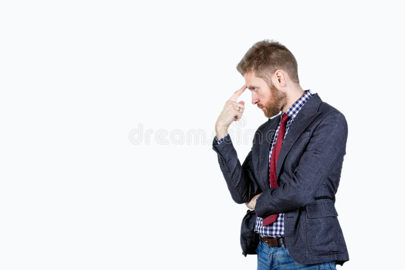 衣服和领带的人在白色背景反射了 免版税图库摄影