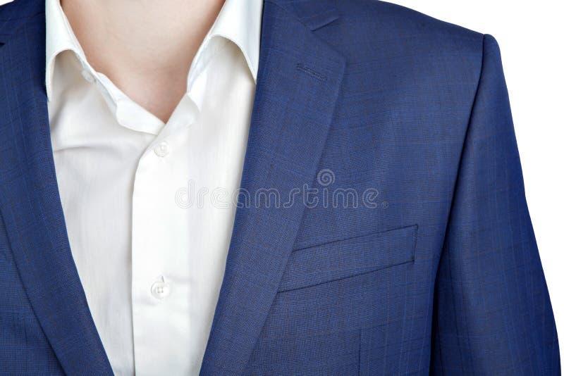 衣服夹克的特写镜头片段在人的舞会之夜 免版税库存照片