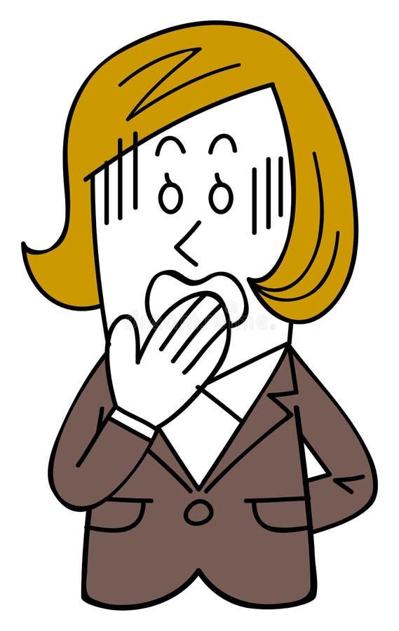 衣服的一名女性雇员得到不耐烦,漏嘴 库存例证