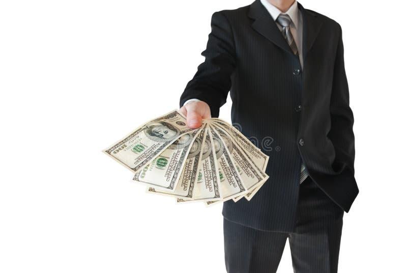 黑衣服的人提供在白色背景隔绝的金钱 免版税库存照片