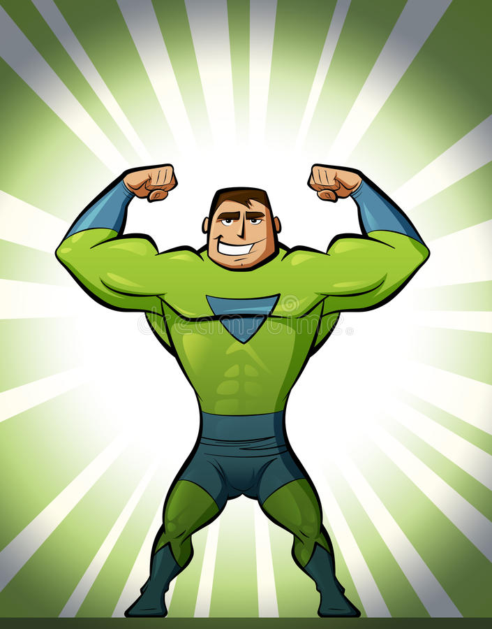 衣服的特级英雄在绿色背景中 皇族释放例证