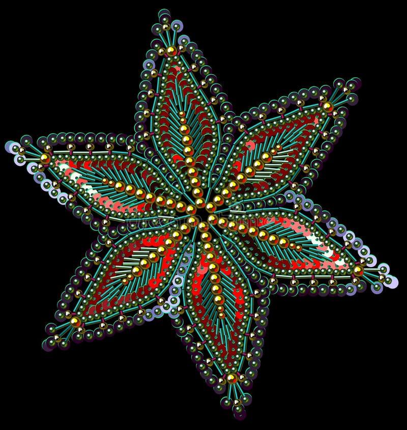 衣服饰物之小金属片和小珠多彩多姿的雪花 向量例证