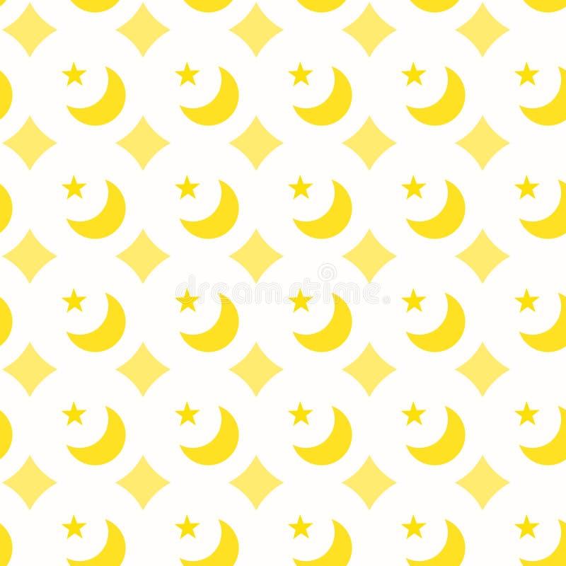 衣服饰物之小金属片月亮星无缝的样式 向量例证