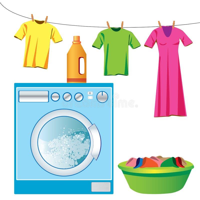 洗衣机&洗衣店 库存例证