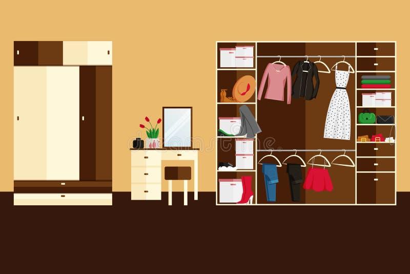 衣橱室传染媒介设计平的样式的 皇族释放例证