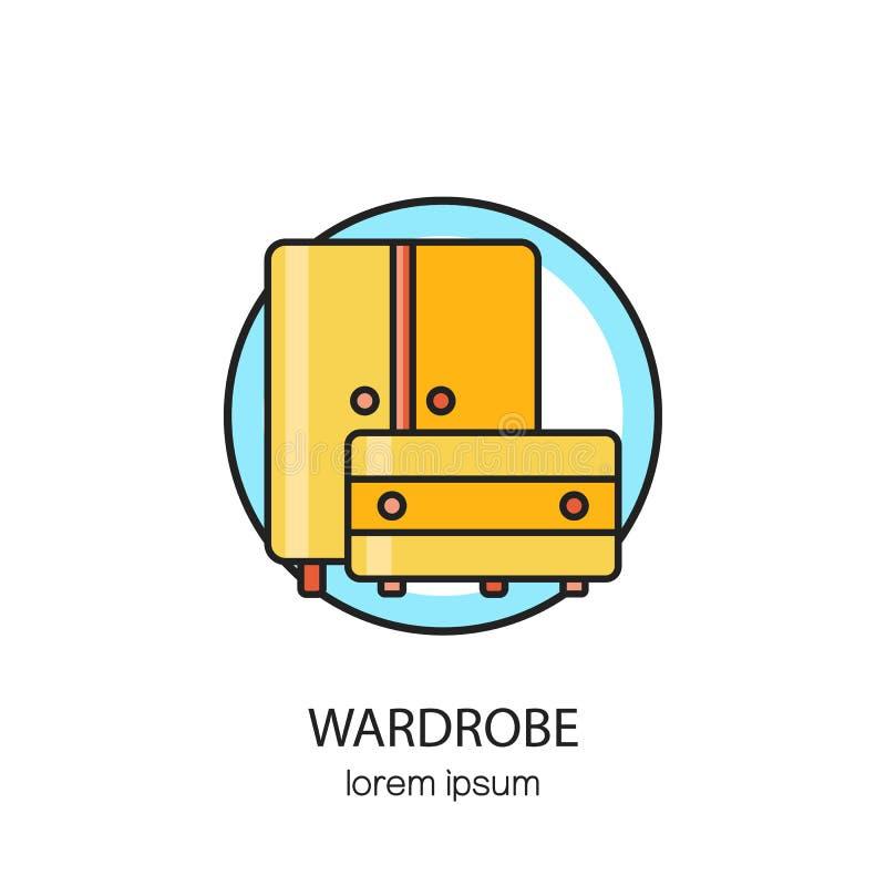 衣橱木家具略写法设计模板 皇族释放例证