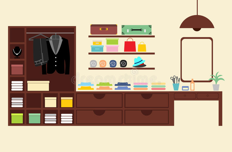 衣橱碗柜布料传染媒介 皇族释放例证