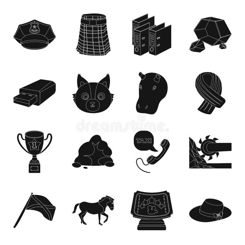 衣物、产业、动物和其他网象在黑样式 皇族释放例证