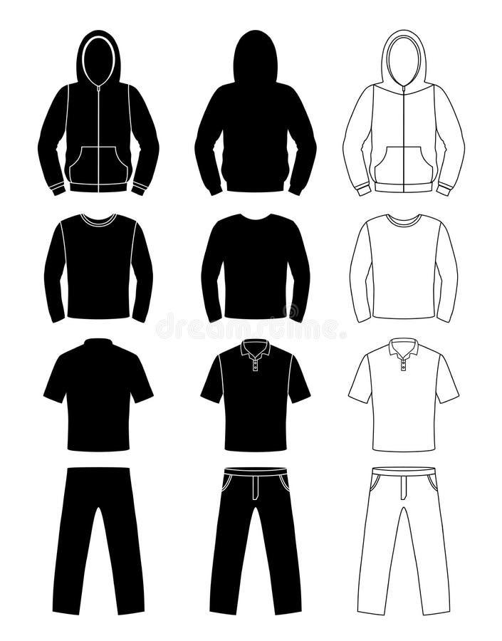 衣物剪影、有冠乌鸦、T恤杉和长的袖子,裤子 皇族释放例证