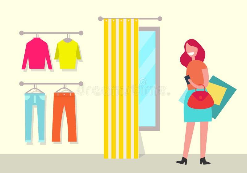 衣物商店和妇女海报传染媒介例证 皇族释放例证
