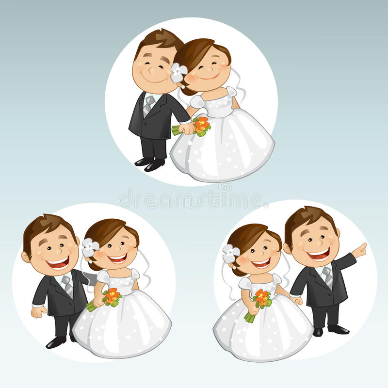 衣物夫妇日愉快的葡萄酒婚礼 向量例证