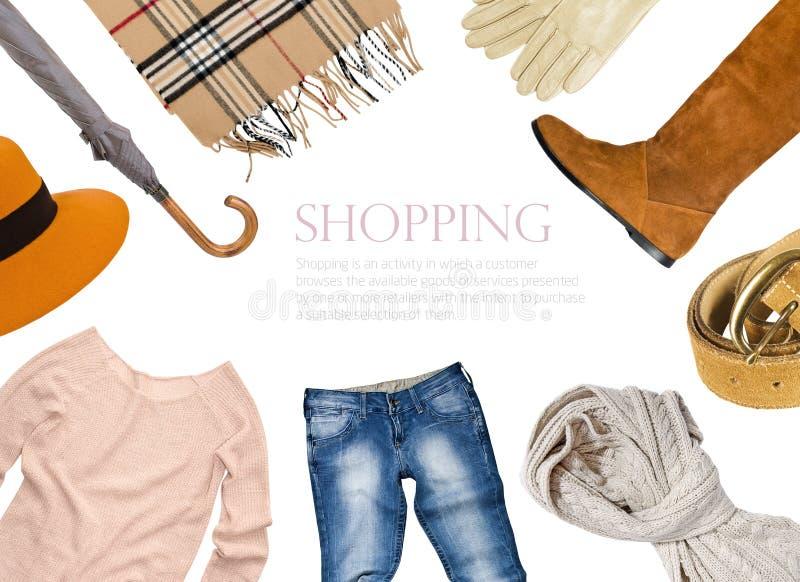 衣物拼贴画在温暖的颜色的 库存照片