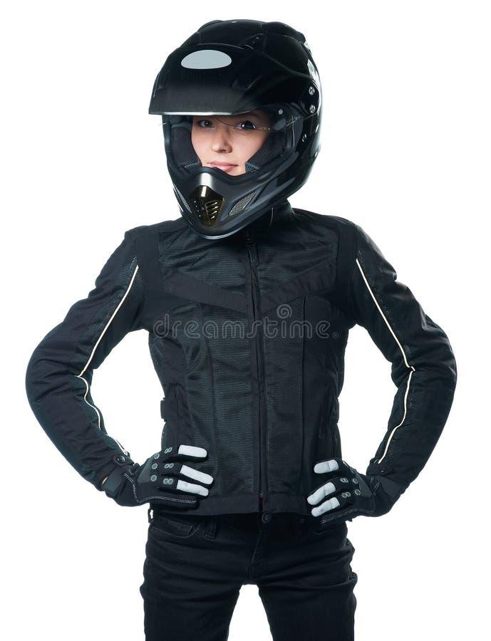 衣物摩托车妇女 图库摄影