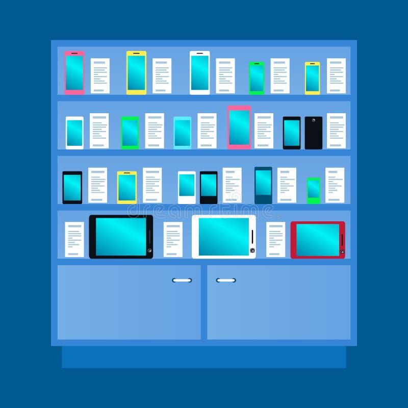 衣物柜、机架有手机的,智能手机和片剂 r 皇族释放例证