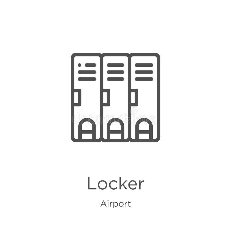 衣物柜从机场汇集的象传染媒介 稀薄的线衣物柜概述象传染媒介例证 概述,稀薄的线衣物柜象为 库存例证