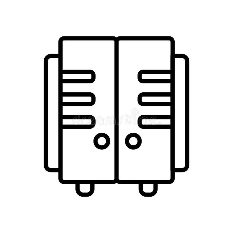 衣物柜在白色背景隔绝的象传染媒介,衣物柜签字,排行或者线性标志,在概述样式的元素设计 向量例证