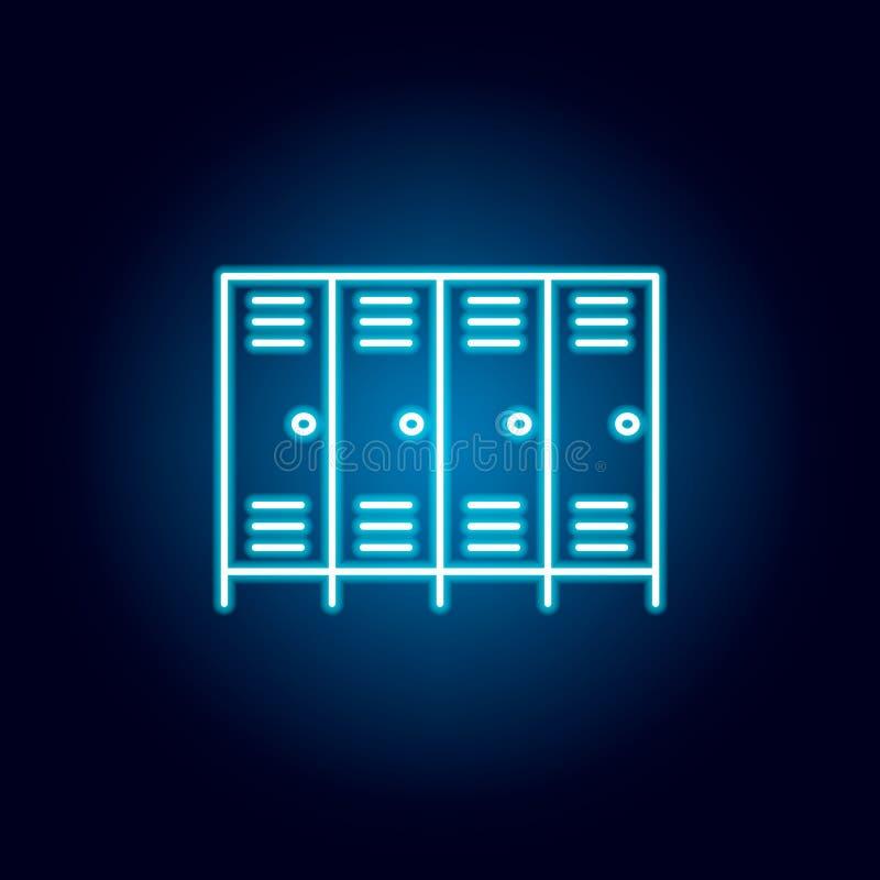 衣物柜,壁橱,衣橱在霓虹样式的概述象 教育例证线象的元素 标志,标志可以使用为 皇族释放例证
