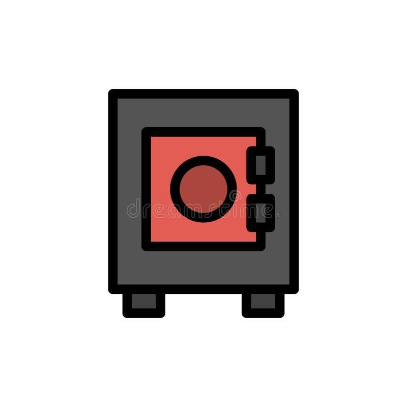 衣物柜,锁,用户平的颜色象 传染媒介象横幅模板 向量例证