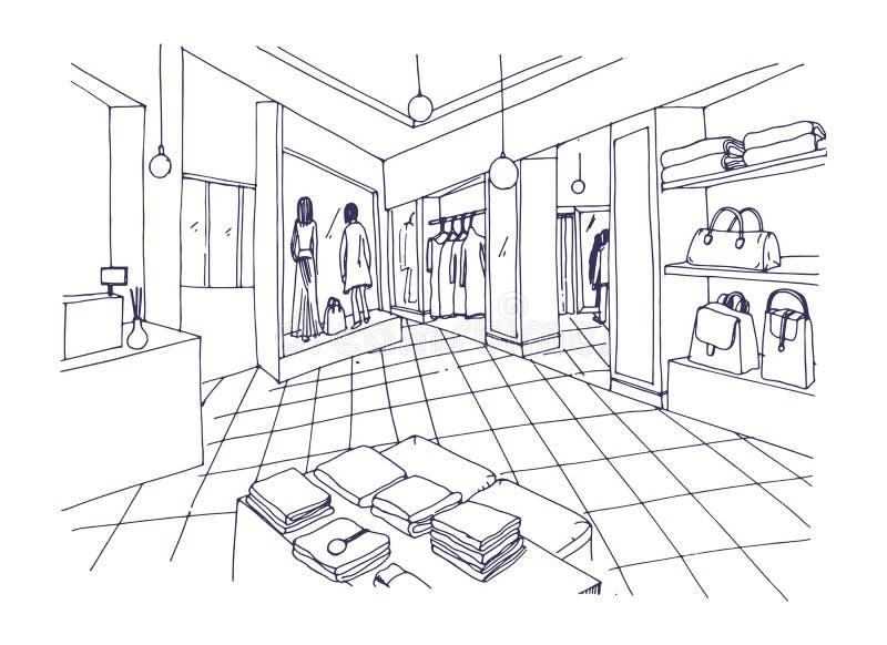 衣物陈列室、精品店、时髦时尚商店或者服装商店内部单色徒手画的剪影与棚架 皇族释放例证