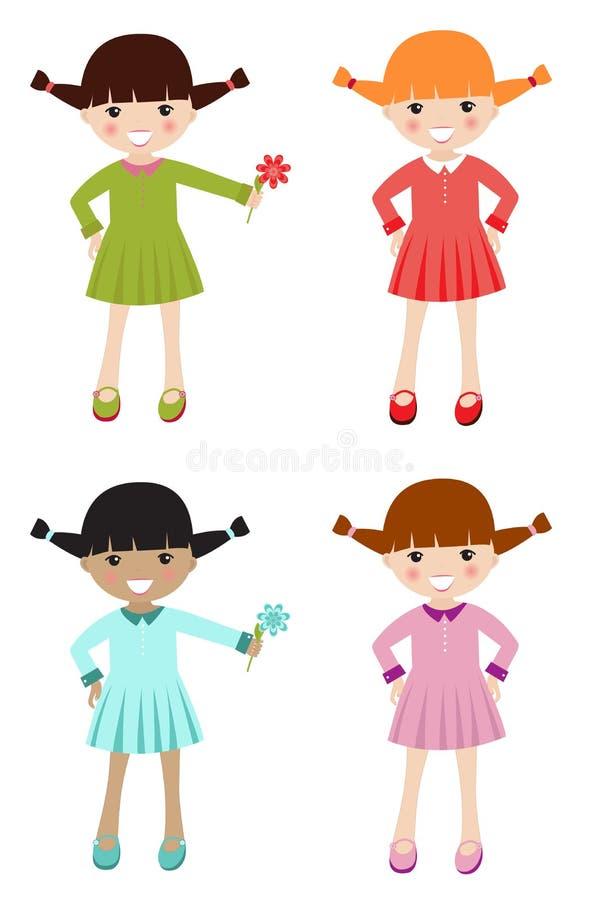 衣物颜色不同的女孩一点 库存例证