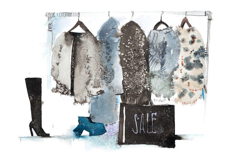 衣裳商店 购物与在挂衣架的新的汇集妇女衣物 免版税图库摄影