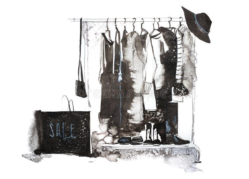 衣裳商店 购物与在挂衣架的新的汇集妇女衣物 库存例证