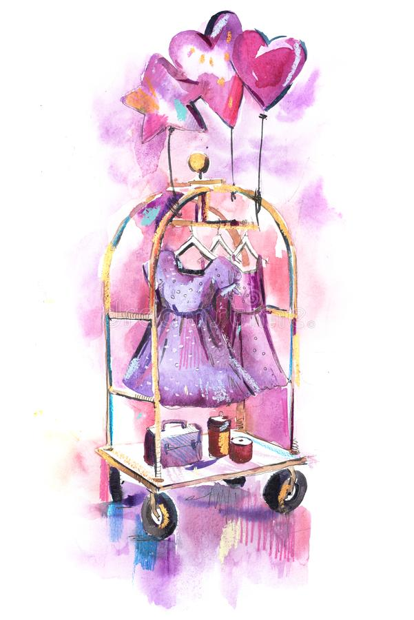 衣裳商店 购物与在挂衣架的新的汇集妇女衣物 皇族释放例证