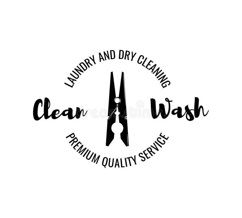 衣裳夹子 洗衣店和干洗徽章 查出在白色 向量例证