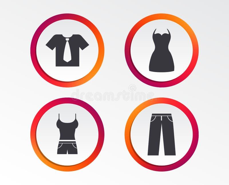 衣裳标志 有领带和裤子的T恤杉 向量例证