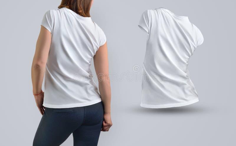 衣裳模板设置了与白色的亭亭玉立的运动妇女t嘘 库存图片