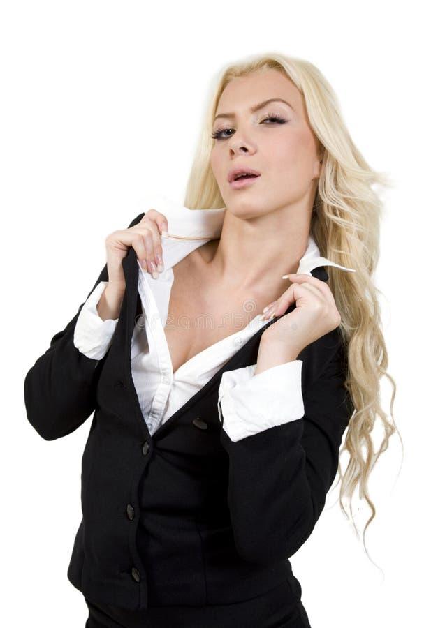 衣领她的藏品时髦的妇女 免版税库存照片